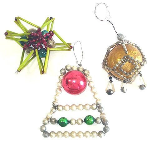 Glass Beaded Bell, Star, Fancy Wrapped Drop Christmas Ornaments