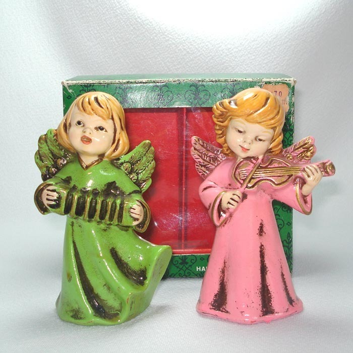 2 Composition Christmas Angel Figurines In Original Box