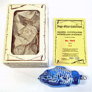 Blue Glittered Fish Boxed Inge Glass Christmas Ornament