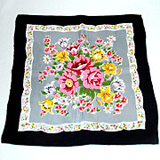 Silky Vintage Hankie Pink Floral Bouquet Black Border