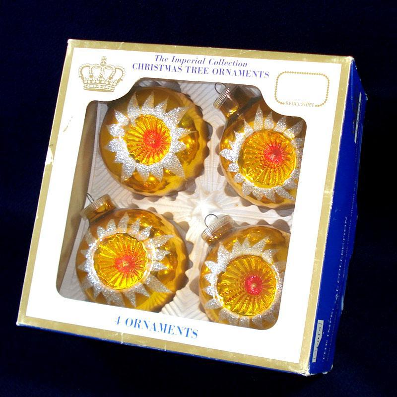 Box 1960s Imperial Collection Indent Glass Christmas Ornaments