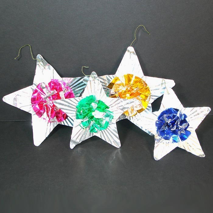 Pompom Metallic Foil Stars 1950s Christmas Ornaments