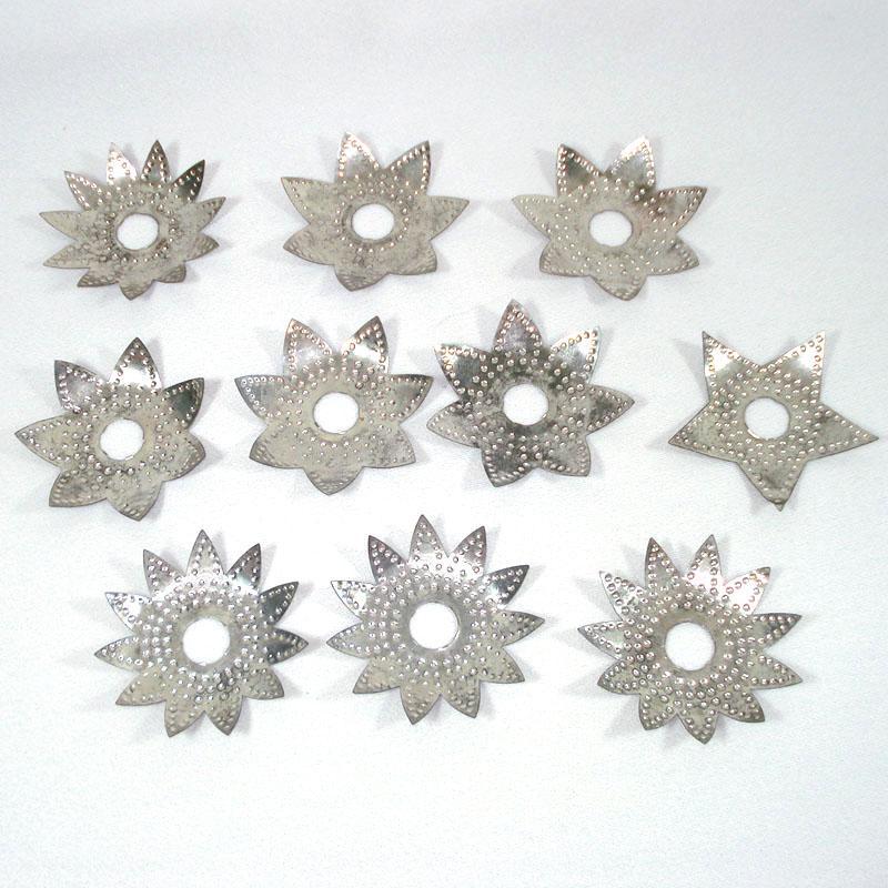 1920s Diamond Ray Metal Punched Tin Christmas Light Reflectors