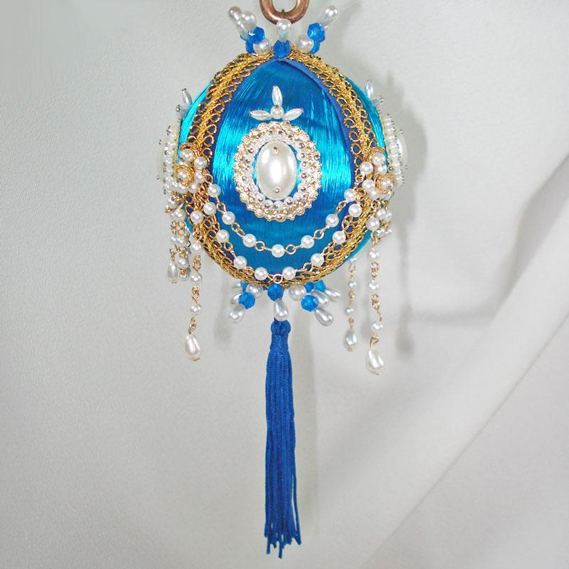 Fancy Draped Pearl Chain Pin Beaded Christmas Ornament 2 Available