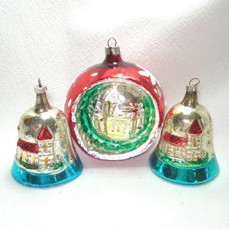 Embossed Church Scene 1960s Glass Christmas Ornaments