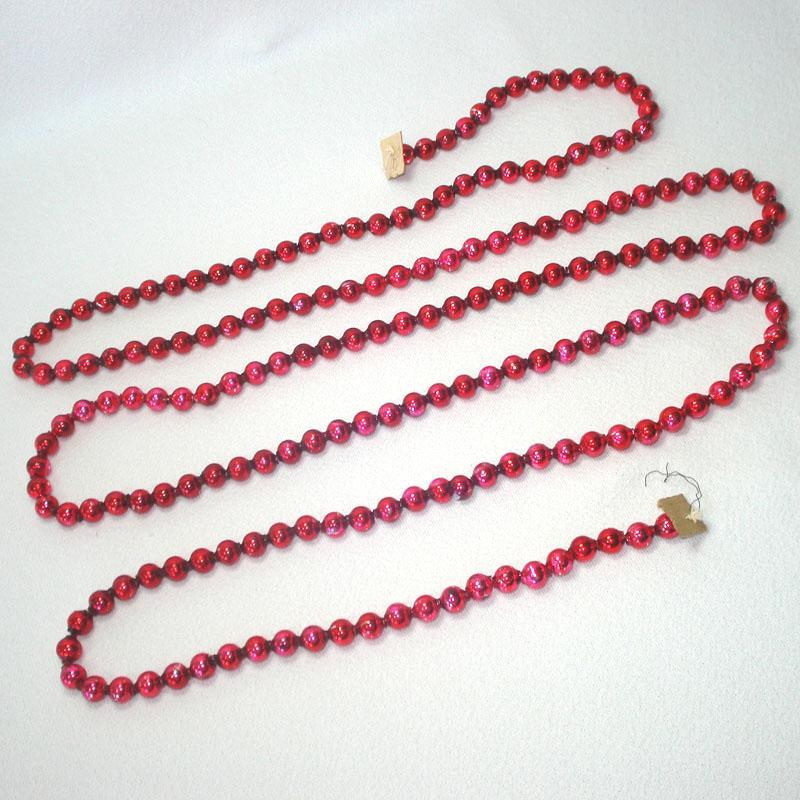 9 Feet Dark Red Mercury Glass Beaded Christmas Garland