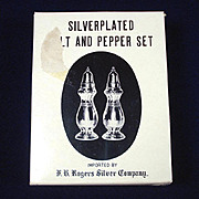 Rogers Silverplate 1960s Salt Pepper Shakers Set Mint in Box