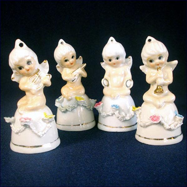 Porcelain Cherub Bell Figurines, Set of 4