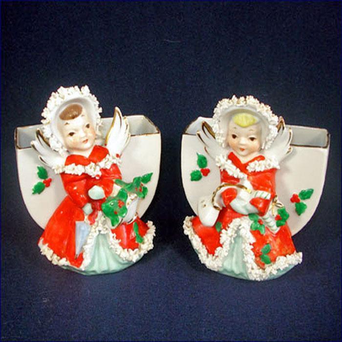 Pair Japan Christmas Angel Planter Vases