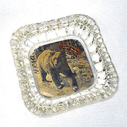 Yellowstone Souvenir Glass Ashtray With Bear Photo