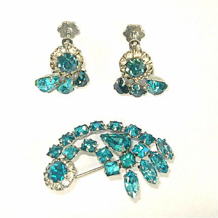 Turquoise Rhinestone Comet Brooch and Earrings