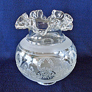 French Glass Torch and Wreath Ruffled Ball Lamp Shades 2 In Fitter