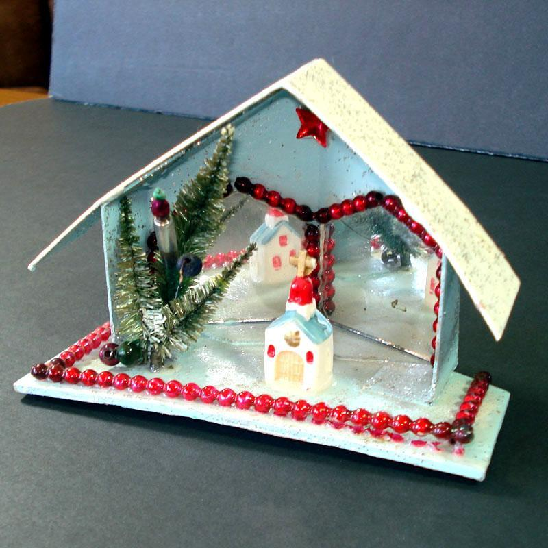 Christmas Mica Putz Diorama House With Beads, Mirrors, Church