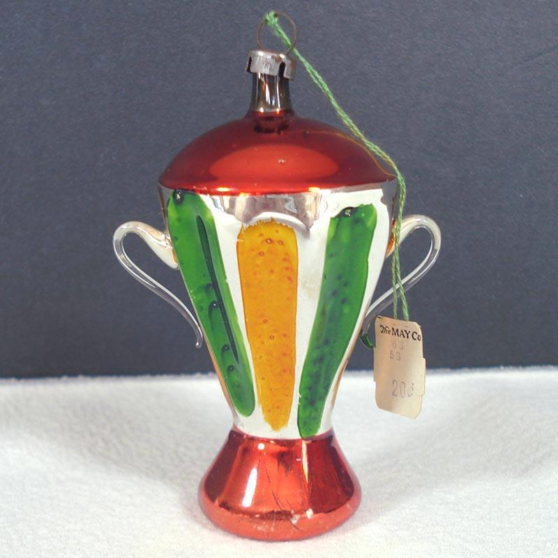 German Blown Glass Urn Trophy Vase Christmas Ornament