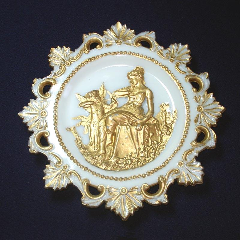Westmoreland EAPG Cupid and Psyche Painted Milk Glass Plate