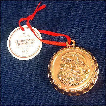 1983 Hallmark Copper Santa Face Candy Mold Christmas Ornament
