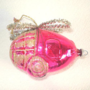Pink Wired Glass Helicopter West Germany Christmas Ornament