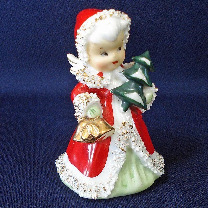 Lefton Christmas Angel Bell With Tree Figurine