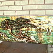 Seaside Cedar Tree Bas Relief Large Wall Art Scene Mid Century