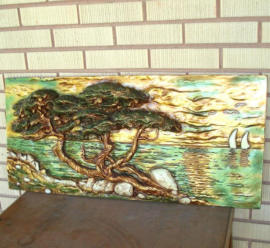 Seaside Cedar Tree Bas Relief Large Wall Art Scene Mid Century
