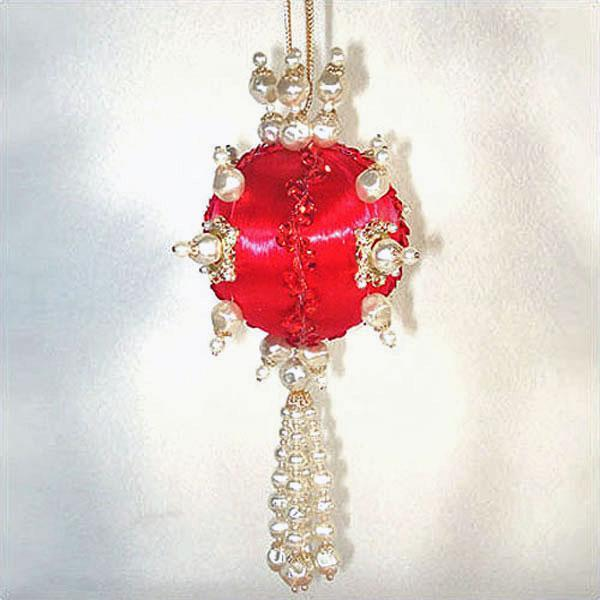 Fancy Faux Pearls on Red Beaded Jeweled Christmas Ornament