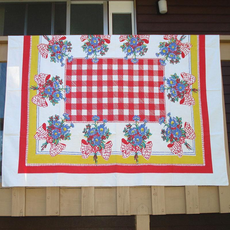 Primary Colors Blue Flowers Red Checks Vintage Tablecloth