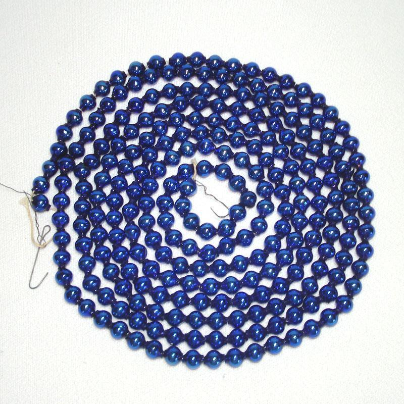 Cobalt Blue Mercury Glass Bead Christmas Garland 8.5 Feet