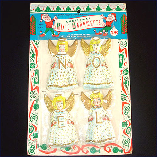 Sealed Package 1950s Vacuform Christmas Angel Ornaments