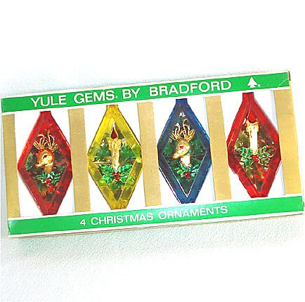 Bradford Yule Gems Box Plastic Diamond Scene Christmas Ornaments