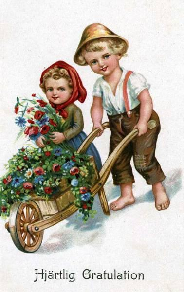 """Children with Flowers""  (1950')"
