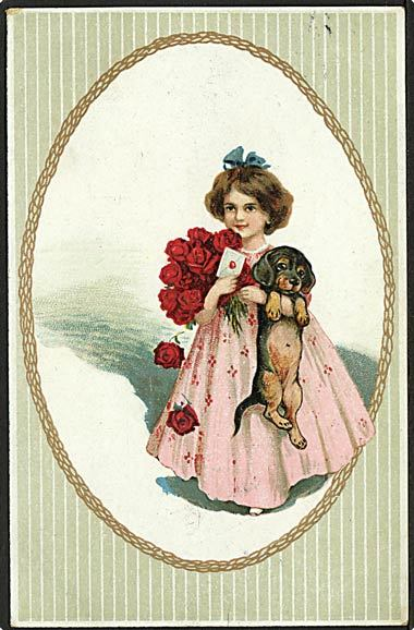 """""""Girl with dog and red roses""""  (1919)"""