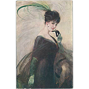 """Woman with black Mask and green Feather""  (1914)"