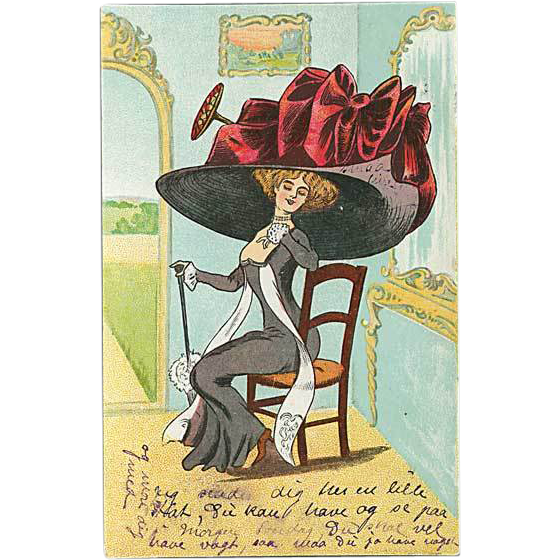 """Lady in huge Hat with red Ribbon"""