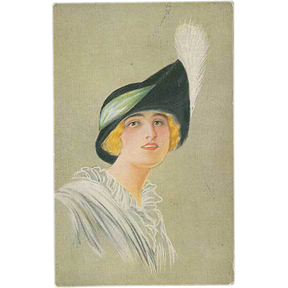 """Woman in Hat with white Feather"""
