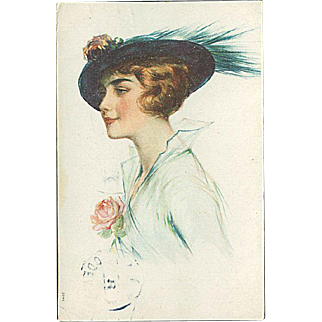 """""""Lady in blue Hat with Feather""""  (1926)"""