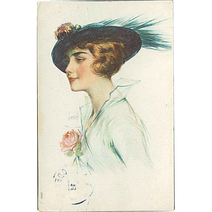 """Lady in blue Hat with Feather""  (1926)"