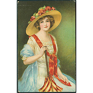 """""""Lady in Hat with pink Roses""""  (1925)"""
