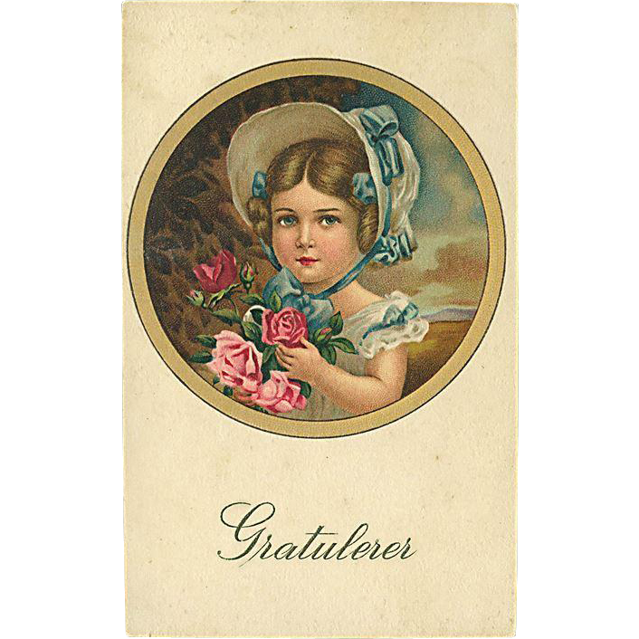 """""""Girl with pink Roses""""  (1920')"""