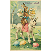 """""""Easter Bunny with Chickens and Lamb""""  (1914)"""