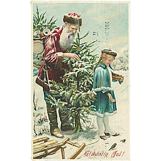 """Santa Claus with Girl and Christmas Tree""  (1912)"