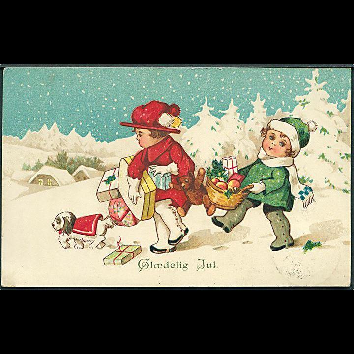 """""""Dog, Boy and Girl with Christmas Presents""""  (1926)"""