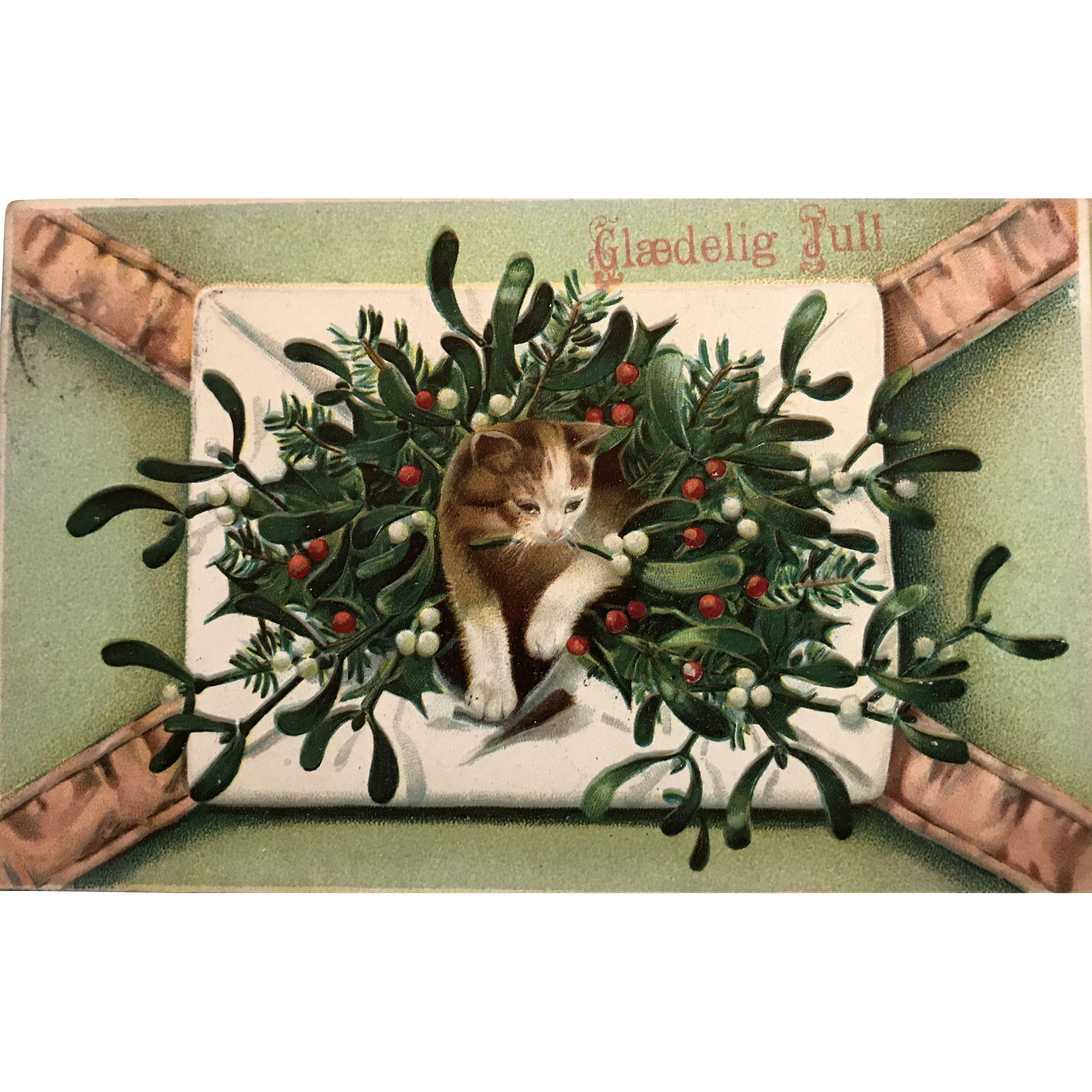 """""""Letter with Kitten and Holly""""  (1909)"""
