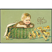 """Baby in Basket Chickens outside""  (1909)"