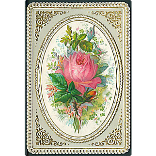 """Pink Rose in Golden Frame""  (1920')"