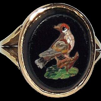 Antique 19th Italian (Victorian) 18K Gold Micro Mosaic Bird Ring – Quality! Rare!