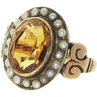 Antique Victorian English  9kt Gold Genuine Citrine Seed Pearl Cluster Ring, C.1890
