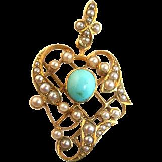 Antique Art Nouveau / Victorian 14K Gold Turquoise Pearl Lavaliere Pendant