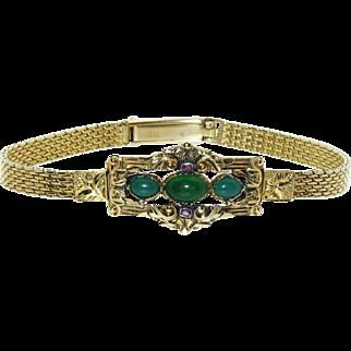 Antique Biedermeier (Victorian) German Yellow Gold Mesh Jade Ruby Detachable Bracelet, c.1850, Rare!