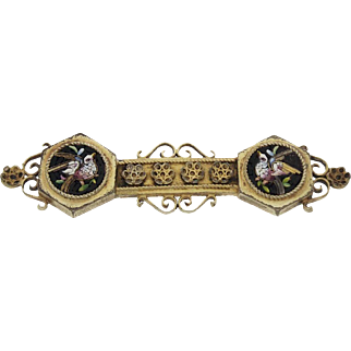 Antique French Napoleon III (Victorian) Vermeil Micromosaic Etruscan Love Bird Brooch