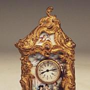 Rare! Antique Austrian Vienna Enamel & Gilt Bronze Miniature Mantle Clock, C.1870 - Red Tag Sale Item
